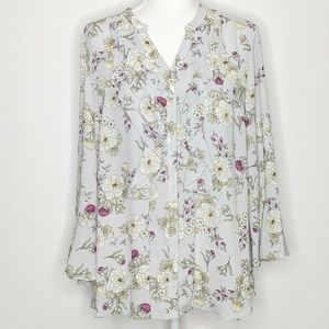 Charter Club Blouse Floral Ruffle Button Front